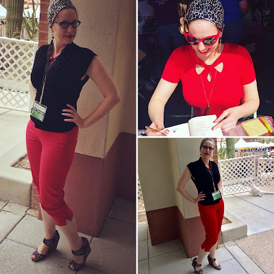 Gail Carriger in Red Capris & Black Velvet with Leopard Accessories at Tucson Festifal of Books 2018