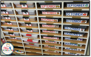 kindergarten classroom organization using Sterilite clip boxes and a wooden mail sorter