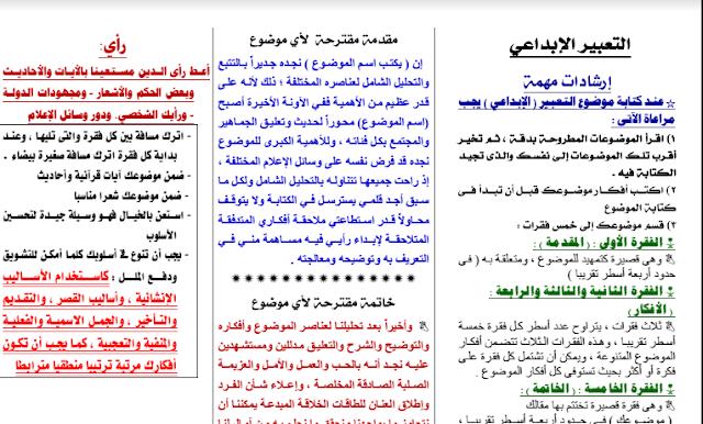 تجميع لاقوي المراجعات في اللغة العربية للصف الثالث الثانوي 2017
