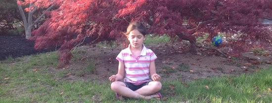 5 year old practicing mindful meditation