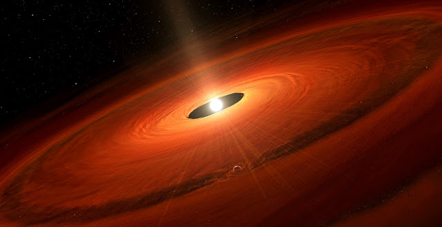 Artist's impression of the dust disk and a forming planet around TW Hydrae. Credit: NAOJ