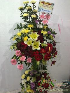 rangkaian standing flower congratulations