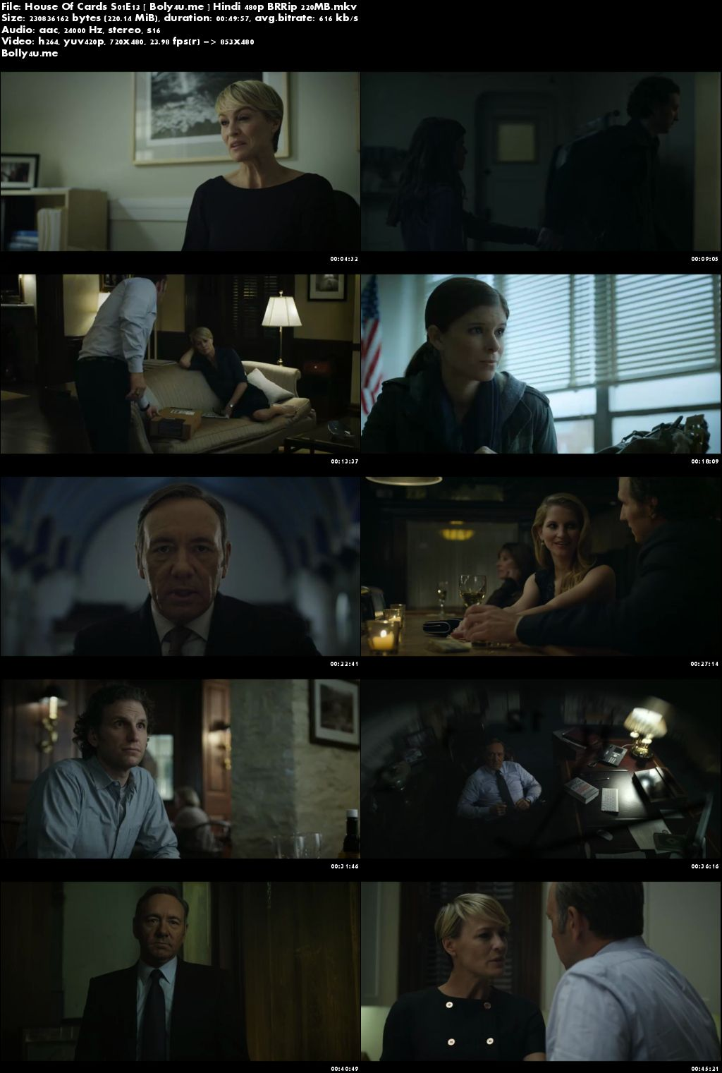 House Of Cards S01E13 BRRip 200MB Hindi Dubbed 480p Download