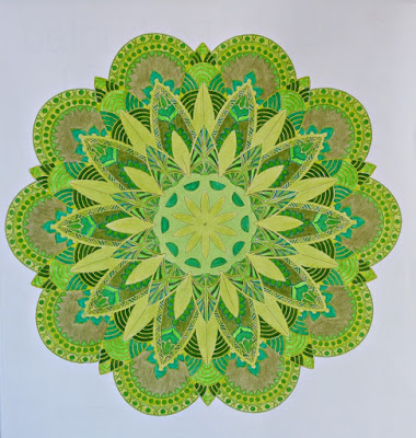 Adult coloring mandala in green