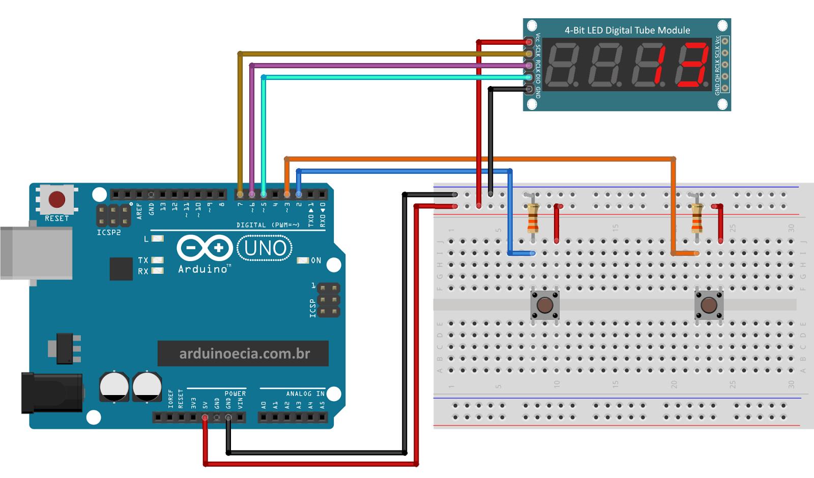 Contador com módulo display dígitos hc arduino e cia