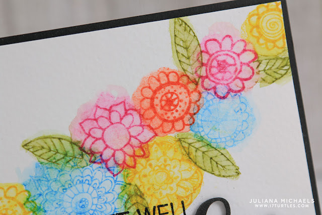 Stamping with the back side of your clear stamp - Get Well Wishes Card by Juliana Michaels featuring Impression Obsession Stamps and Ranger Distress Ink