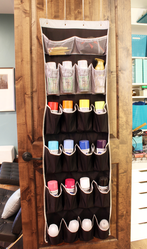 how to store spray paint using an over the door shoe bag