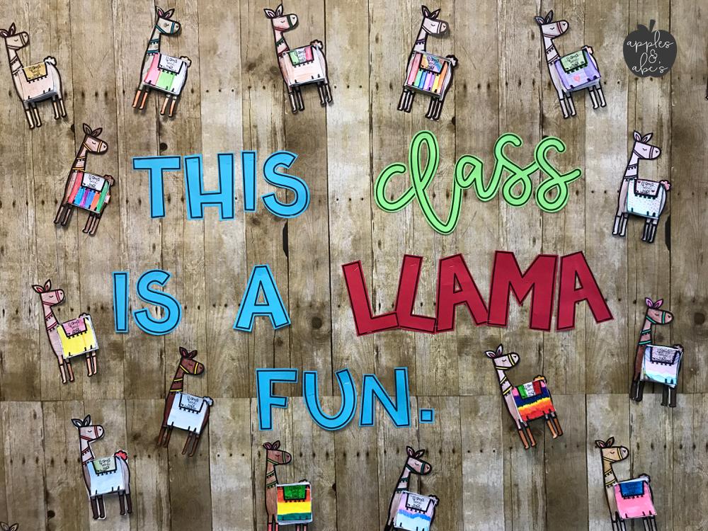 Classroom Quote Ideas ~ Llama classroom theme apples and abc s