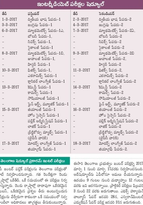Telangana (TS) Inter 1st Year Time Table 2017