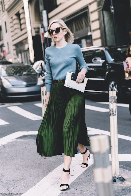 Green Midi Pleated Skirt