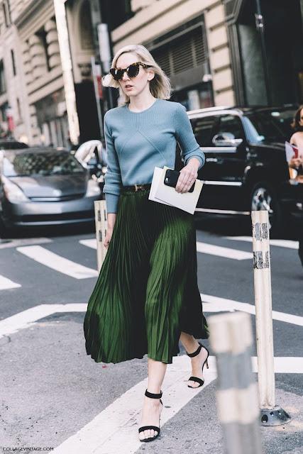 Green Midi Pleated Skirt