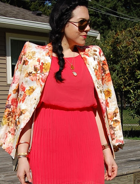 Floral Zara blazer, pleated salmon dress, Sam Edelman Serena sandals and a Coach Legacy bag