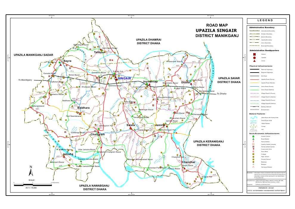 Singair Upazila Road Map Manikganj District Bangladesh