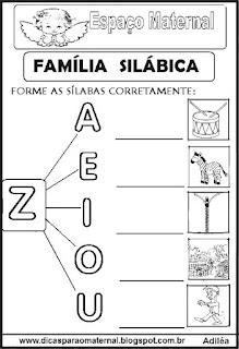Família silábica alfabetização letra Z