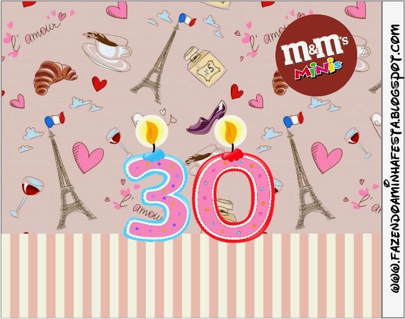 Cumpliendo 30 Años: Etiquetas Candy Bar para Imprimir Gratis. | Oh ...