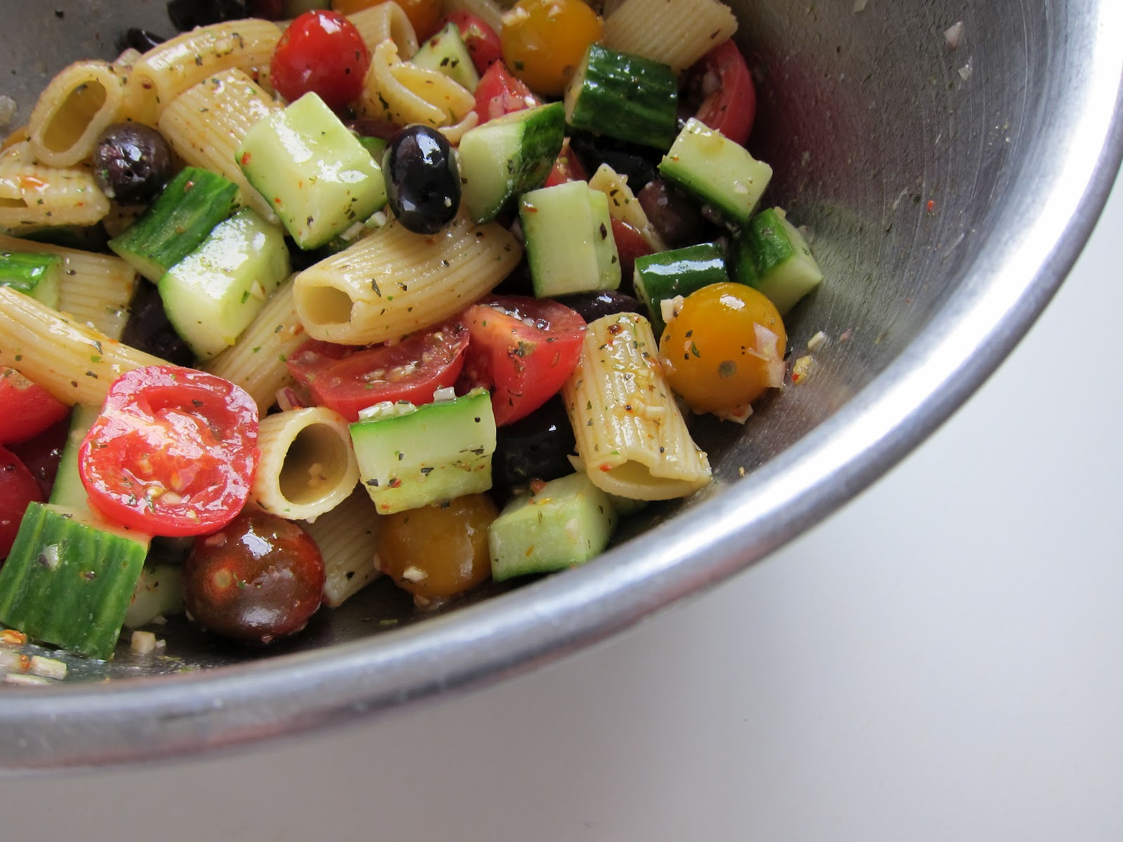 Vegetarian Detective: The Case of Tomato Cucumber Pasta Salad