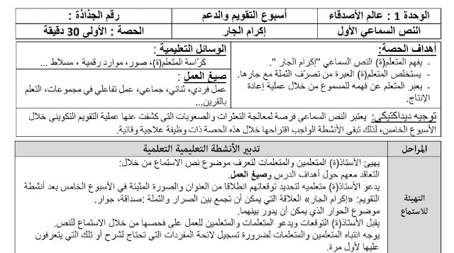 جذاذات التقويم و الدعم للغة العربية الوحدة الاولى للسنة الثالثة ابتدائي وفق المنهاج المنقح 2019-2020