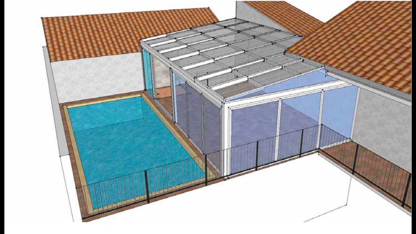 cierre de espacios proximos a la piscina with techo terraza