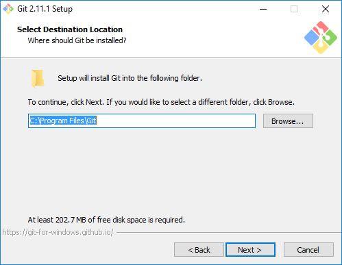 Lokasi instalasi Git