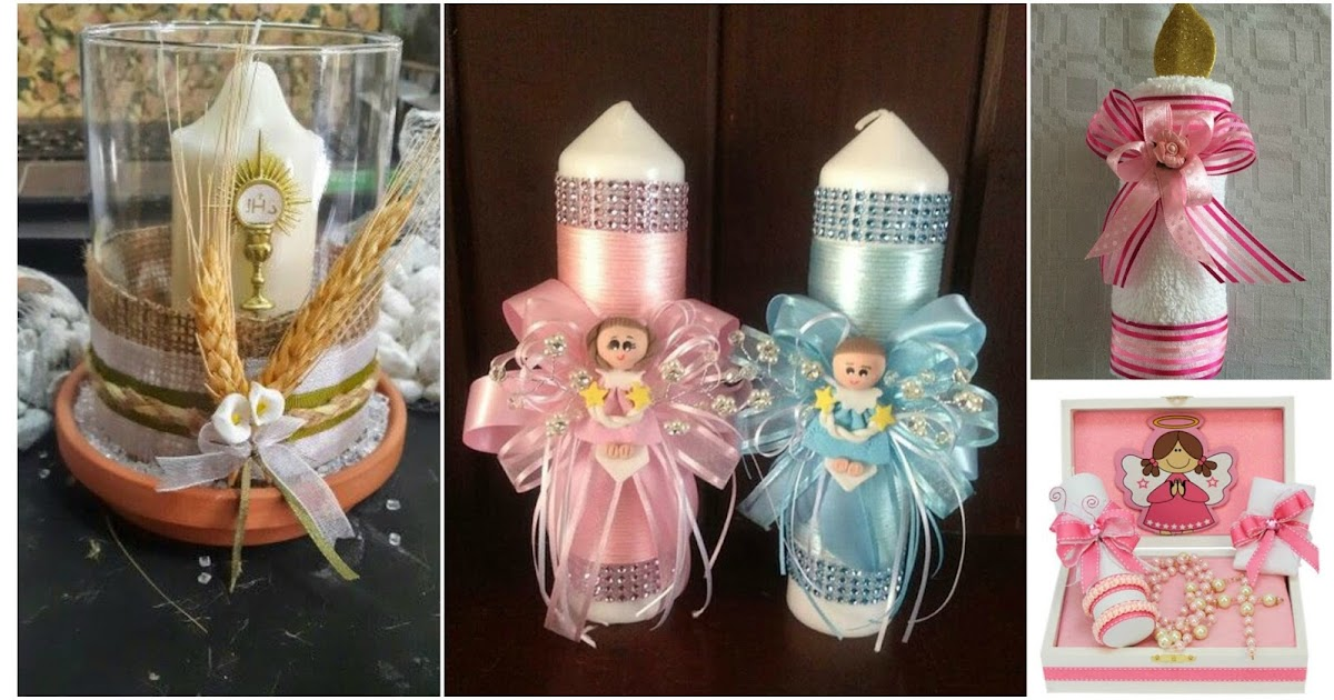 9 ideas de c mo decorar velas para bautizos y primera comuni n - Adornar mesas de comunion ...