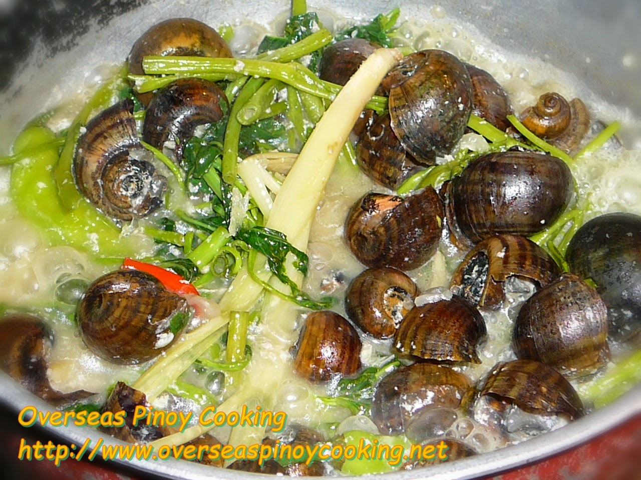 Ginataang Kuhol with Kangkong - Cooking Procedure