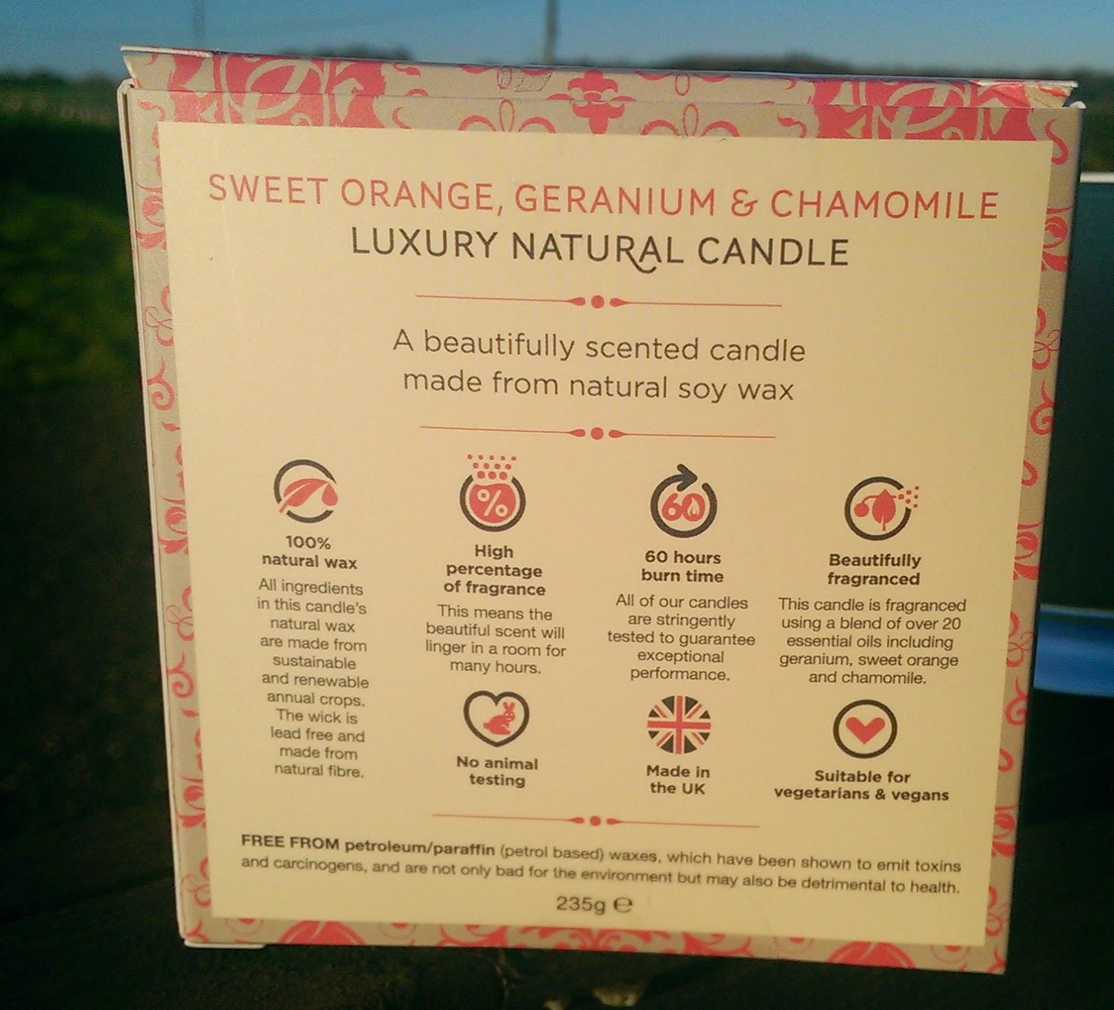 Natural Empathy Sweet Orange, Geranium & Chamomile Candle