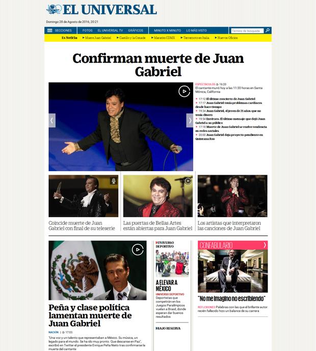 Reacciones: el repentino fallecimiento de Juan Gabriel; las notas en diversos medios digitales | Ximinia
