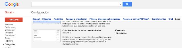 Pestaña Labs de la configuración de Gmail. La opción Combinación de teclas personalizadas se puede habilitar o inhabilitar.