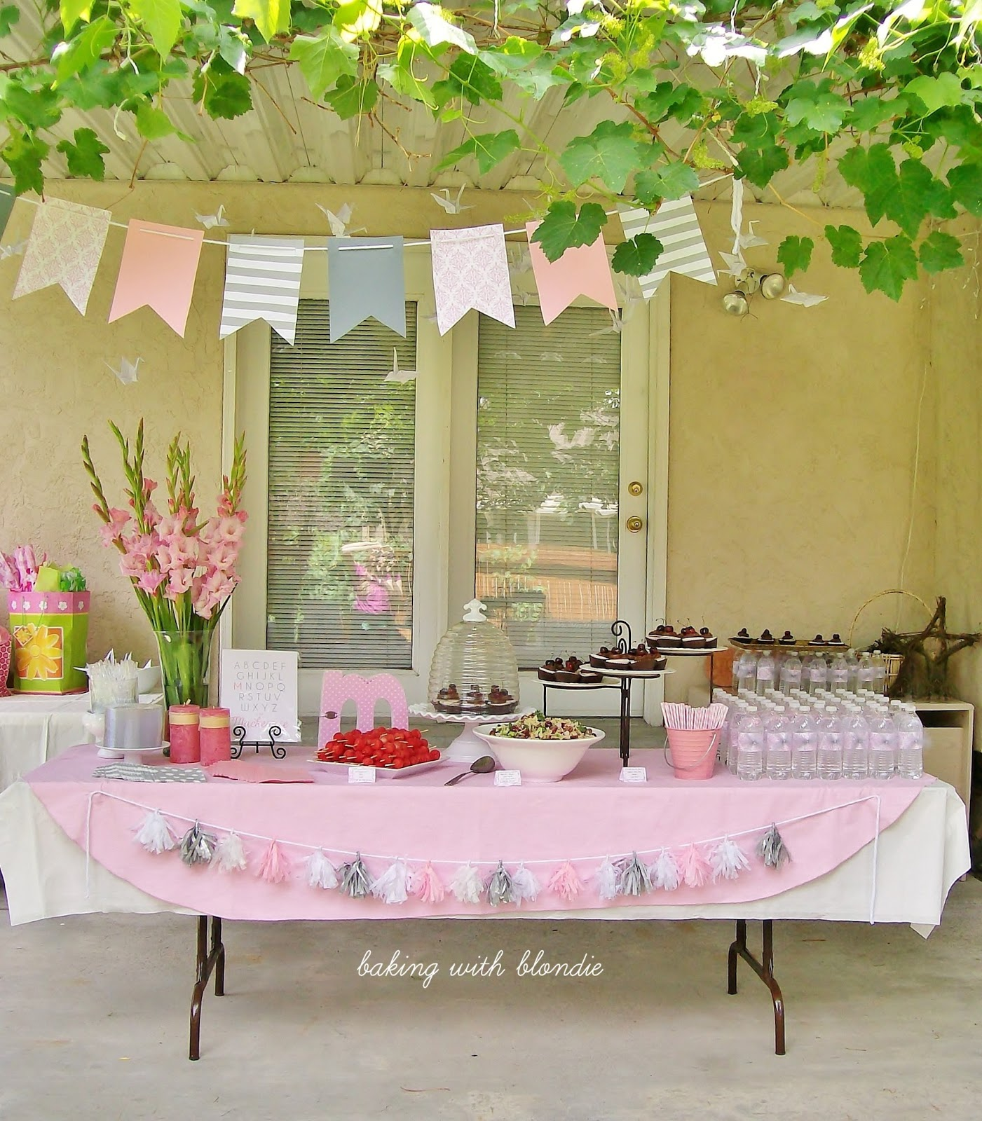 Baking with Blon Pink Grey & White Baby Girl Shower