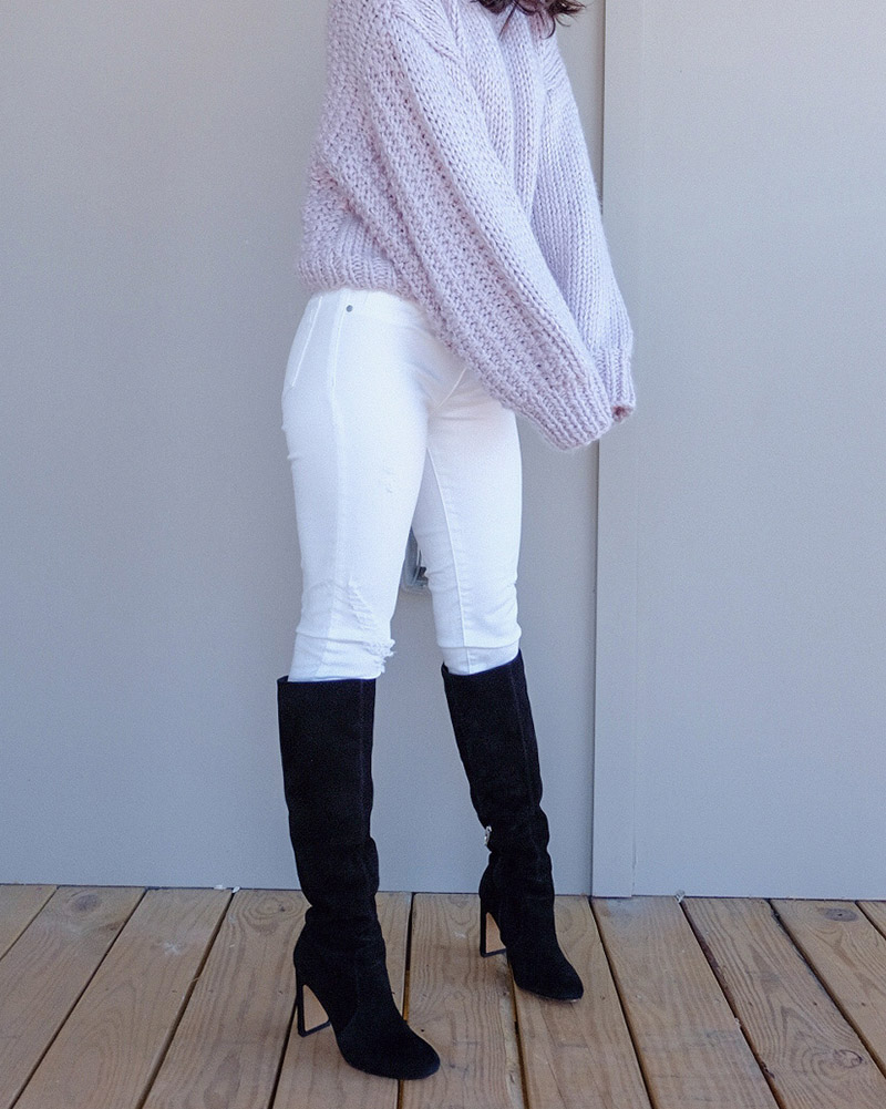 lavender sweater outfits, dolce vita coop boots, white jeans winter outfits