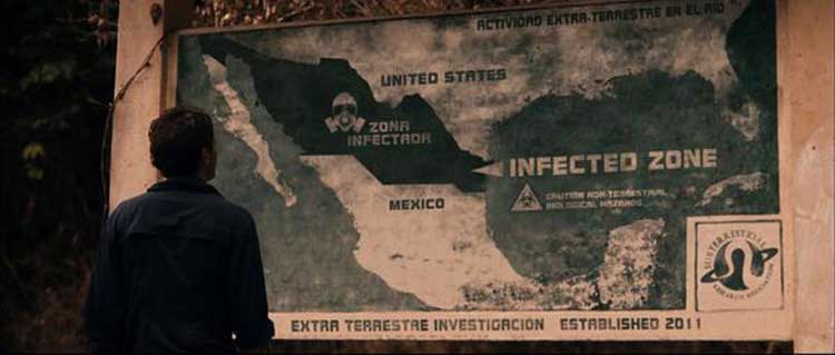 A large chunk of Mexico becomes an infected zone in Gareth Edwards' Monsters.