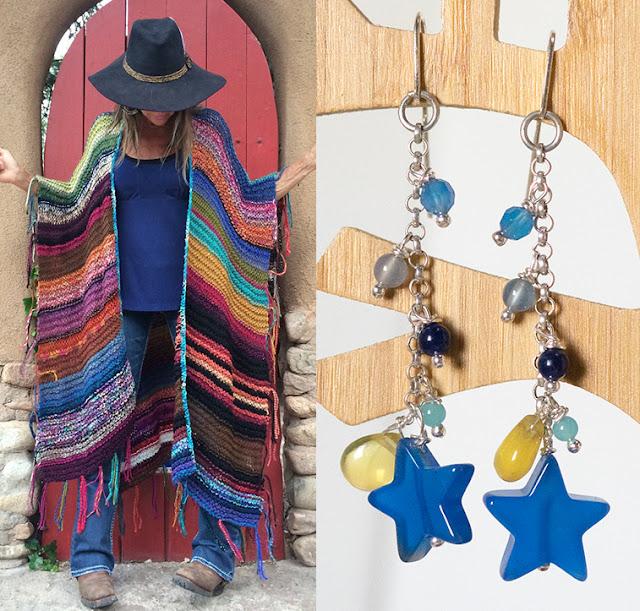 Orecchini pendenti con agate blu e quarzo citrino