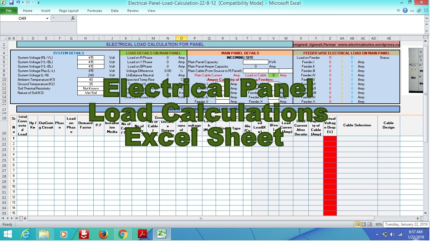 Engineering xls Electrical Panel Load Calculations Excel Sheet
