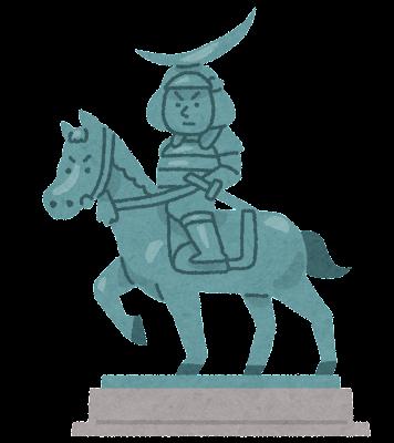 伊達政宗の騎馬像のイラスト