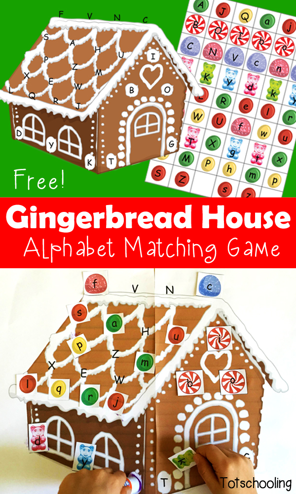 graphic regarding Printable Gingerbread House called Gingerbread Home Alphabet Matching Printable Totschooling