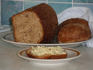 Cooked bread.