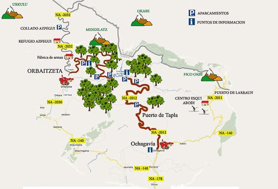 Mapa detalle de la Selva de Irati. Navarra