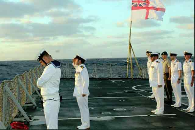 Men of HMS Sutherland pay respect to HMAS Sydney, lost on 19 November 1941 worldwartwo.filminspector.com