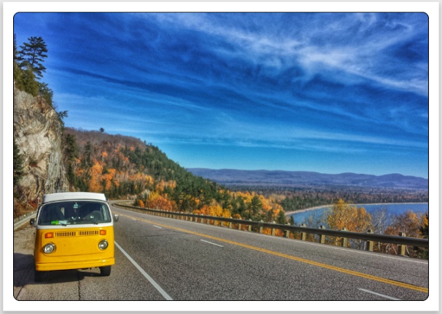 Volkswagen Type 2 Westfalia bus in Ontario, Lake Superior, Canada