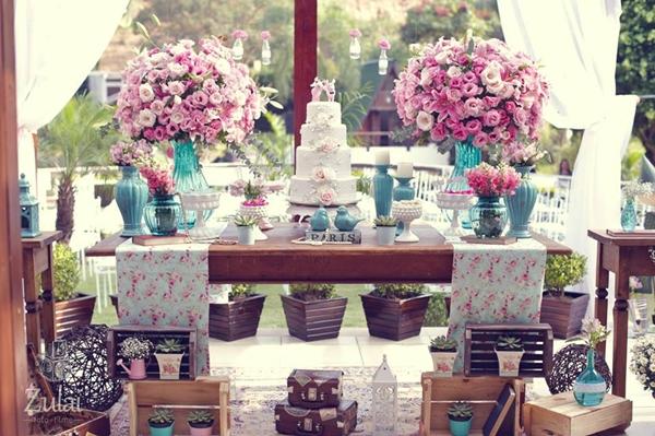 Confira agora as fotos dessa decoração encantadora, nas cores azul tiffany  + rosa. d2239d7f0b