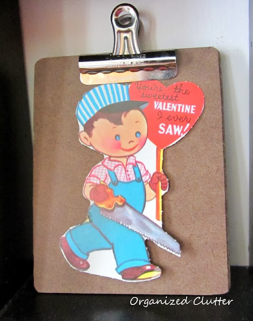 Vintage Valentine Displayed on a Clipboard www.organizedclutterqueen.blogspot.com