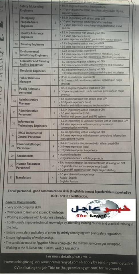 اعلان وظائف رقم 3 لسنة 2016 وزارة الكهرباء والتقديم لمدة اسبوعين بالاهرام 29 / 4 / 2016
