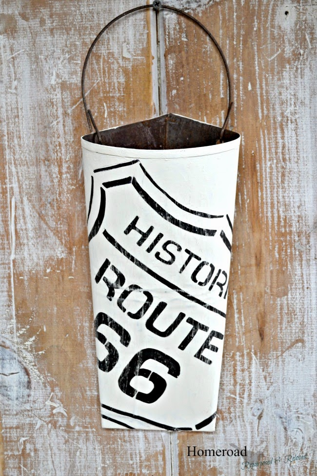 Rusty Route 66 Metal Flower Vase and Stencil www.homeroad.net