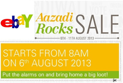 (Updated) Ebay Azadi Rock Sale: Get Freedom from Big Shopping Bills & Enjoy Free Discount Coupons 100% | 80% | 40% | 20% | 10% to Shop (From 6th Aug'13 to 11th Aug'13 between 11 AM to 11:15 AM and 5 PM to 5:15 PM)