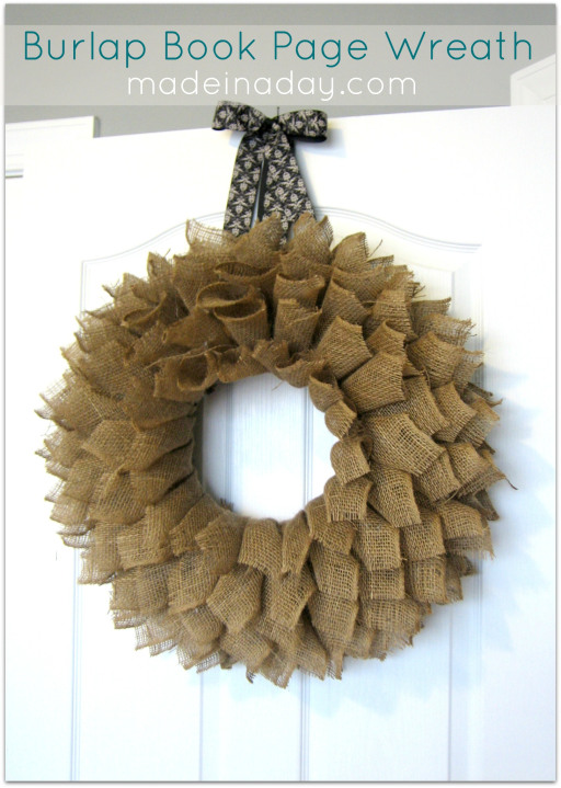 This creative burlap bookpage wreath is a unique decorative wreath