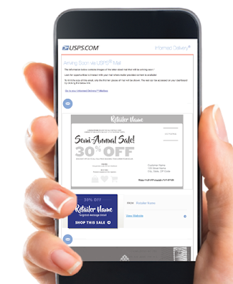 Photo of a smart phone showing the USPS Informed Delivery app
