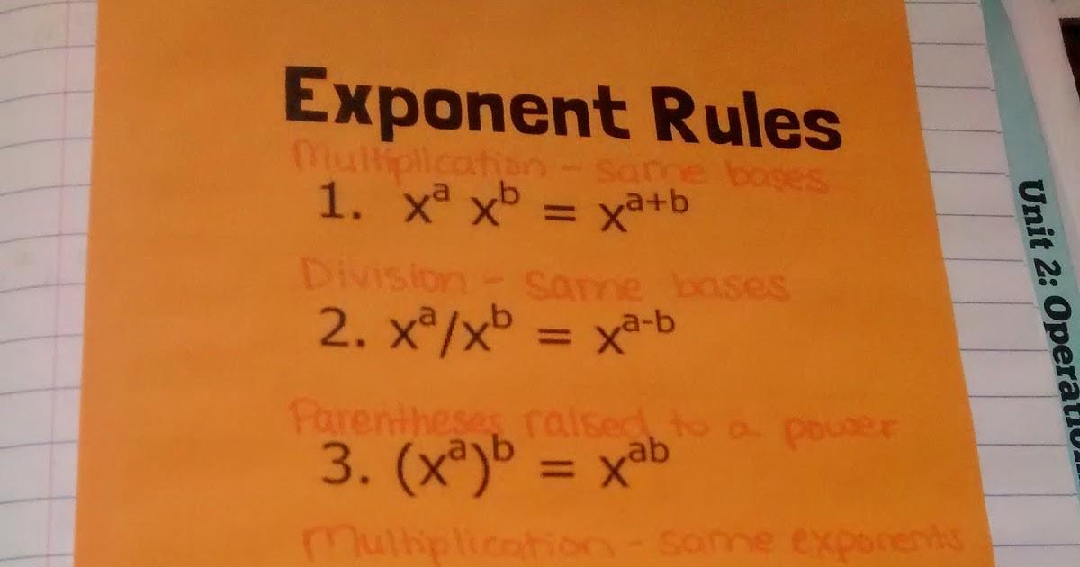 Math \u003d Love Algebra 2 Exponent Rule Review