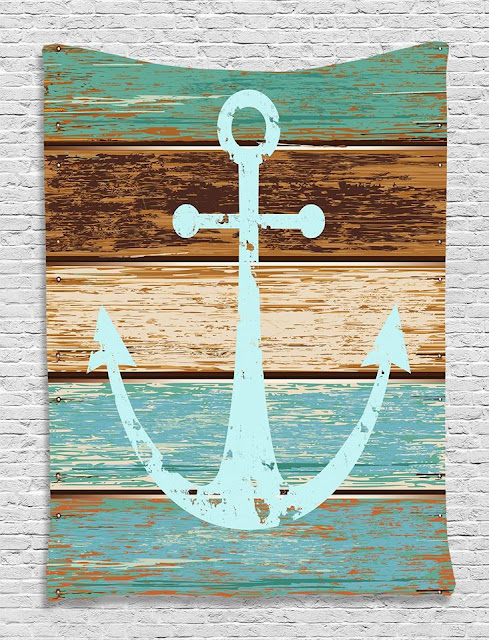 Anchor on Rustic Wood Tapestry