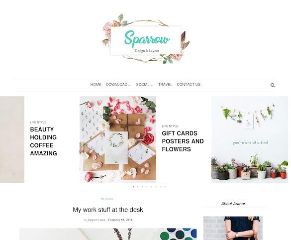 Download Sparrow Blogger Template Premium Gratis