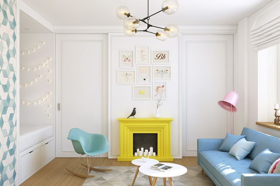 wystrój wnętrz, wnętrza, urządzanie mieszkania, dom, home decor, dekoracje, aranżacje, małe wnętrza, małe mieszkanie, styl nowoczesny, modern style, kolorowe dodatki, color decor, pastelowe kolory, salon, living room, kuchnia, kitchen, atrapa kominka